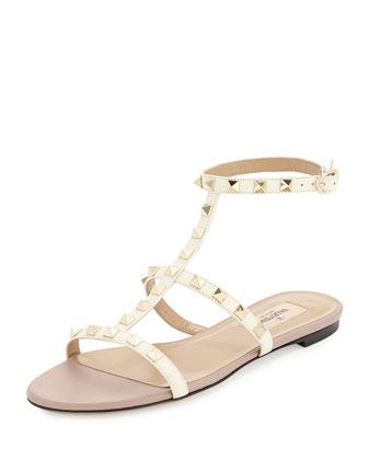 Rockstud Ankle-Strap Flat Sandal, Ivory