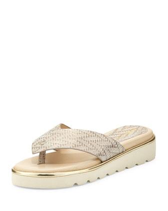 Liv2 Cushioned Flip-Flop Sandal, Platino