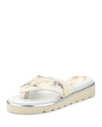 Liv2 Cushioned Flip-Flop Sandal, Putty/Snake