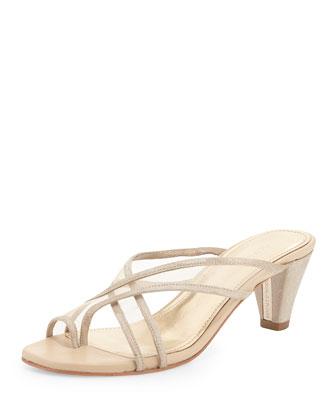 Velo Mesh Toe-Ring Sandal, Nude/Platino