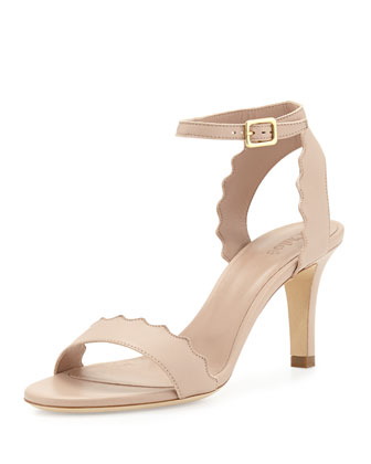 Lauren Scalloped Leather Sandal, Nude