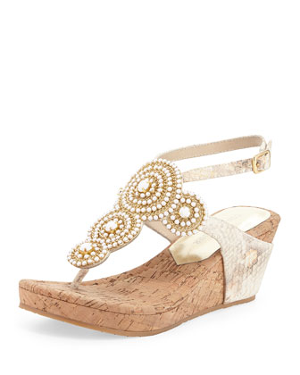 Geegi Snakeskin Wedge Sandal, Putty White