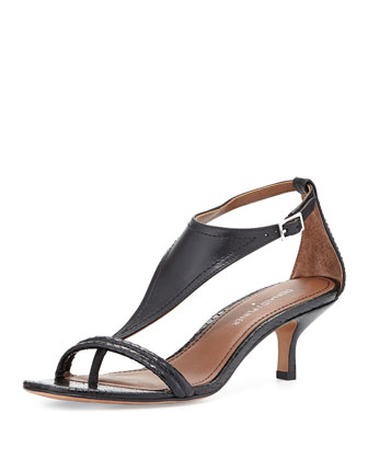 Monti Leather & Snake T-Strap Sandal, Black