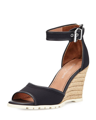 Brook Ankle-Strap Wedge Sandal, Black
