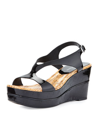 Delon Patent Wedge Sandal, Black