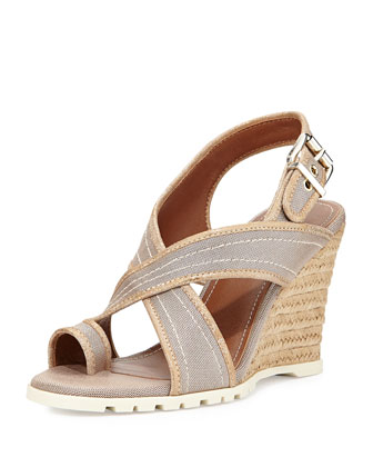 Burgos Metallic Crisscross Wedge, Light Bronze