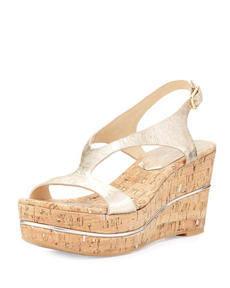 Delon Metallic Wedge Sandal, Platino