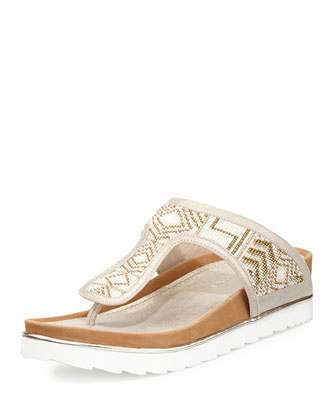 Cali Beaded Thong Sandal, White/Platino