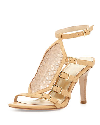 Tena Buckle Ankle-Wrap Sandal, Platino