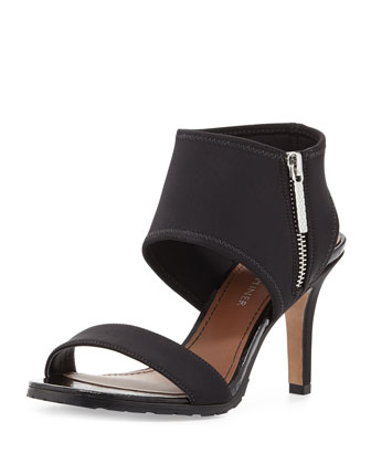 Tilda Zippered Stretch Sandal, Black