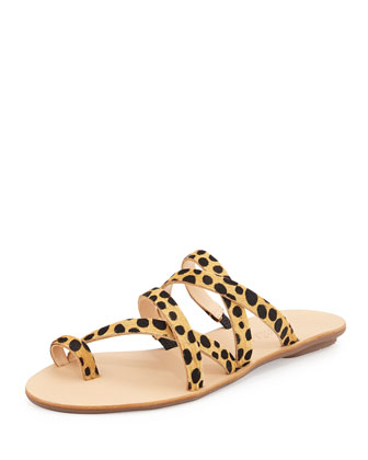 Sarie Leopard-Print Calf-Hair Sandal, Brown