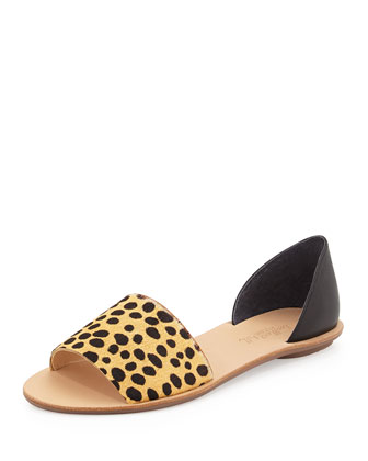 Sawyer Leopard-Print Calf-Hair Flat, Brown