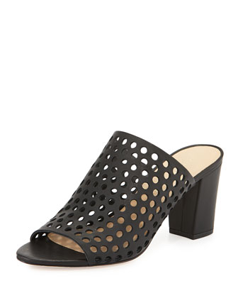 Shea Perforated Leather Mule, Black