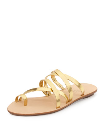 Sarie Metallic Leather Sandal, Gold