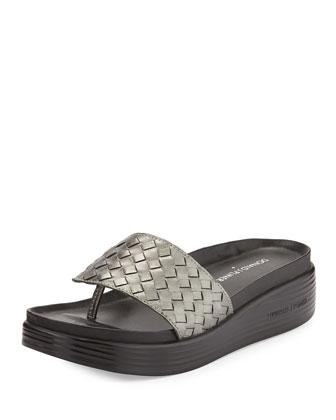 Fifi Woven Platform Sandal, Gunmetal