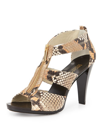Berkley Lizard-Embossed T-Strap Sandal, Peanut