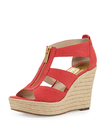 Damita Canvas Wedge Sandal, Watermelon