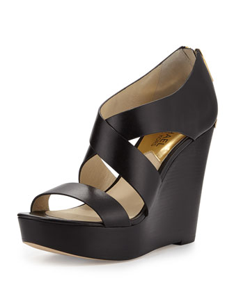 Elena Leather Wedge Sandal, Black