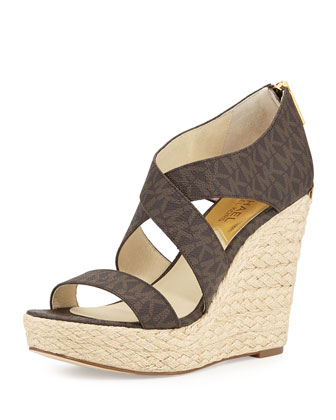 Elena MK Signature Wedge, Brown