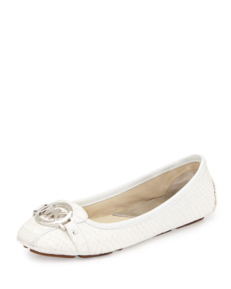 Fulton Snake-Embossed Leather Moccasin, Optic White