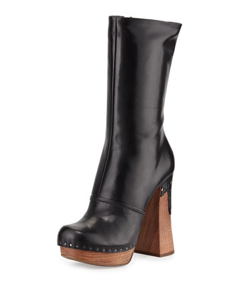 Leather Nail-Studded Boot, Nero
