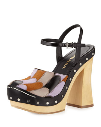 Patchwork Ankle-Strap Clog, Campanula