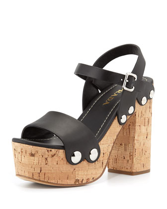 Riveted Platform Clog Sandal, Black