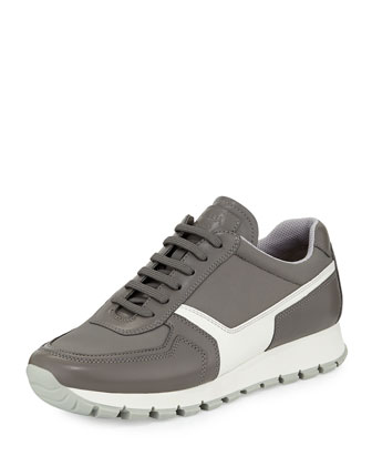 Leather & Nylon Lace-Up Trainer, Acciaio