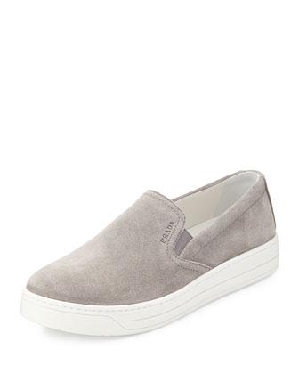 Suede Slip-On Sneaker, Acciaio