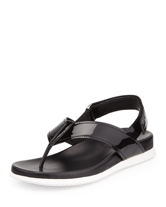 Patent Leather Slingback Thong Sandal, Nero