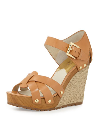 Somerly Leather Wedge Sandal, Peanut