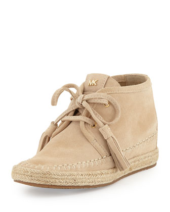 Kendrick Suede Lace-Up Wedge, Bone
