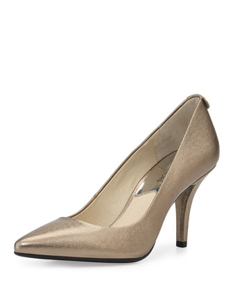 MK Flex Mid-Heel Metallic Pump, Nickel