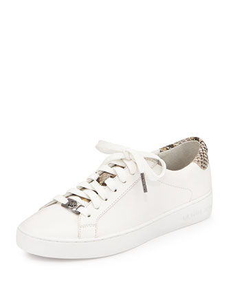 Irving Leather Lace-Up Sneaker, Optic White/Gray