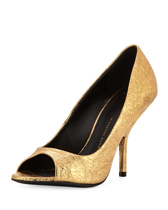 Metallic Open-Toe Pump, Gold