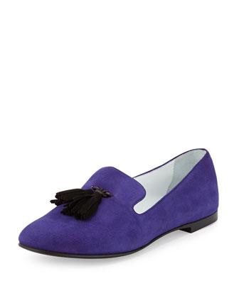 Tassel Slip-On Suede Loafer, Purple