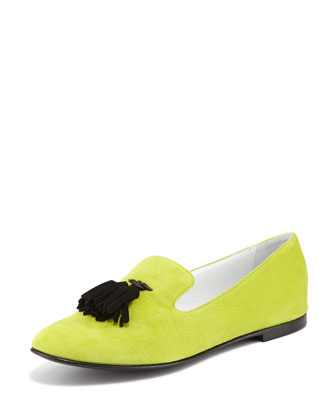 Suede Tassel Loafer, Lime