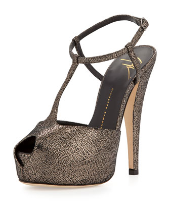 Crackled T-Strap Platform Sandal, Gray