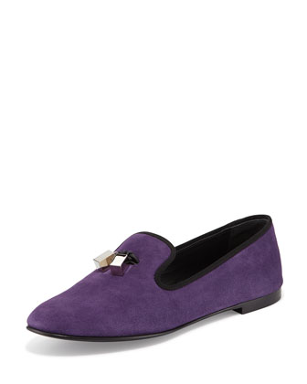 Metallic Tassel Suede Loafer, Violet