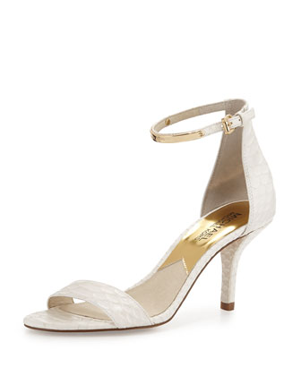 Kristen Mid-Heel Snake-Embossed Sandal, Optic White