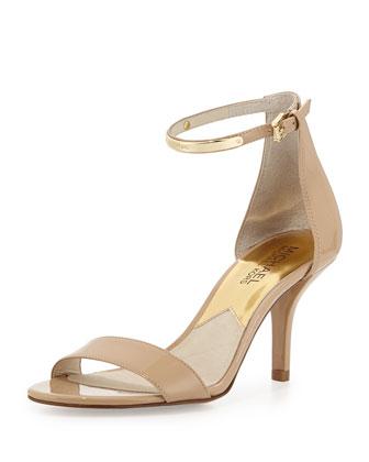 Kristen Mid-Heel Patent Sandal, Nude
