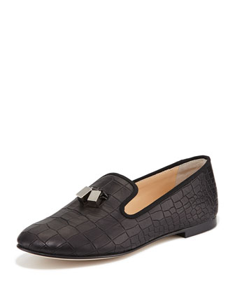 Metallic Tassel Croc-Embossed Loafer, Black