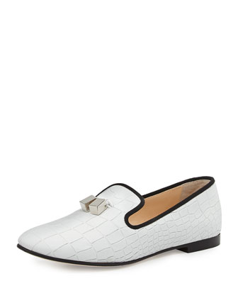Calfskin Loafer with Metal Tassel, White