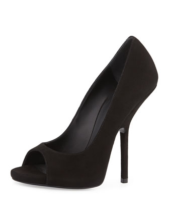 Suede Peep-Toe Pump, Black