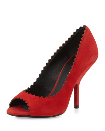 Suede Peep-Toe High-Heel Pump, Red