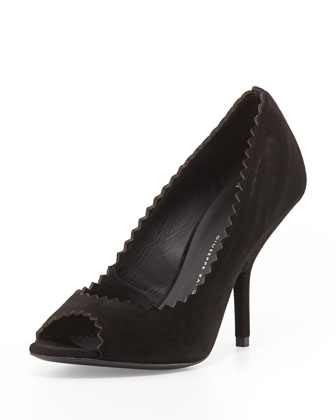Suede Pinked-Edge Pump, Black