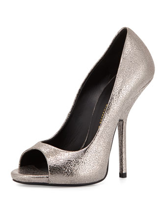 Metallic Peep-Toe Pump, Gray