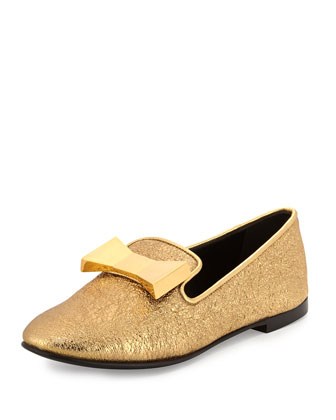 Metallic Bow Slip-On Loafer, Gold