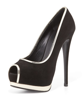 Metallic-Trimmed Platform Pump, Black