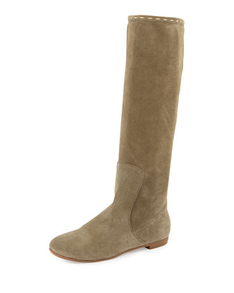 Flat Suede Tall Boot, Light Green